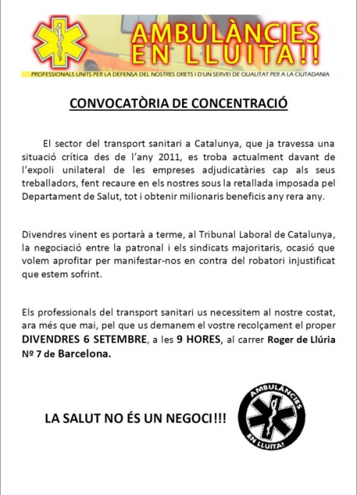 2013.09.06 AMBULANCIES EN LLUITA - CONVOCATORIA CONCENTRAC IÓ A LES 9H